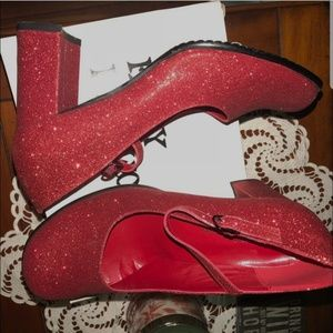 Shoes - Red Glitter Heels